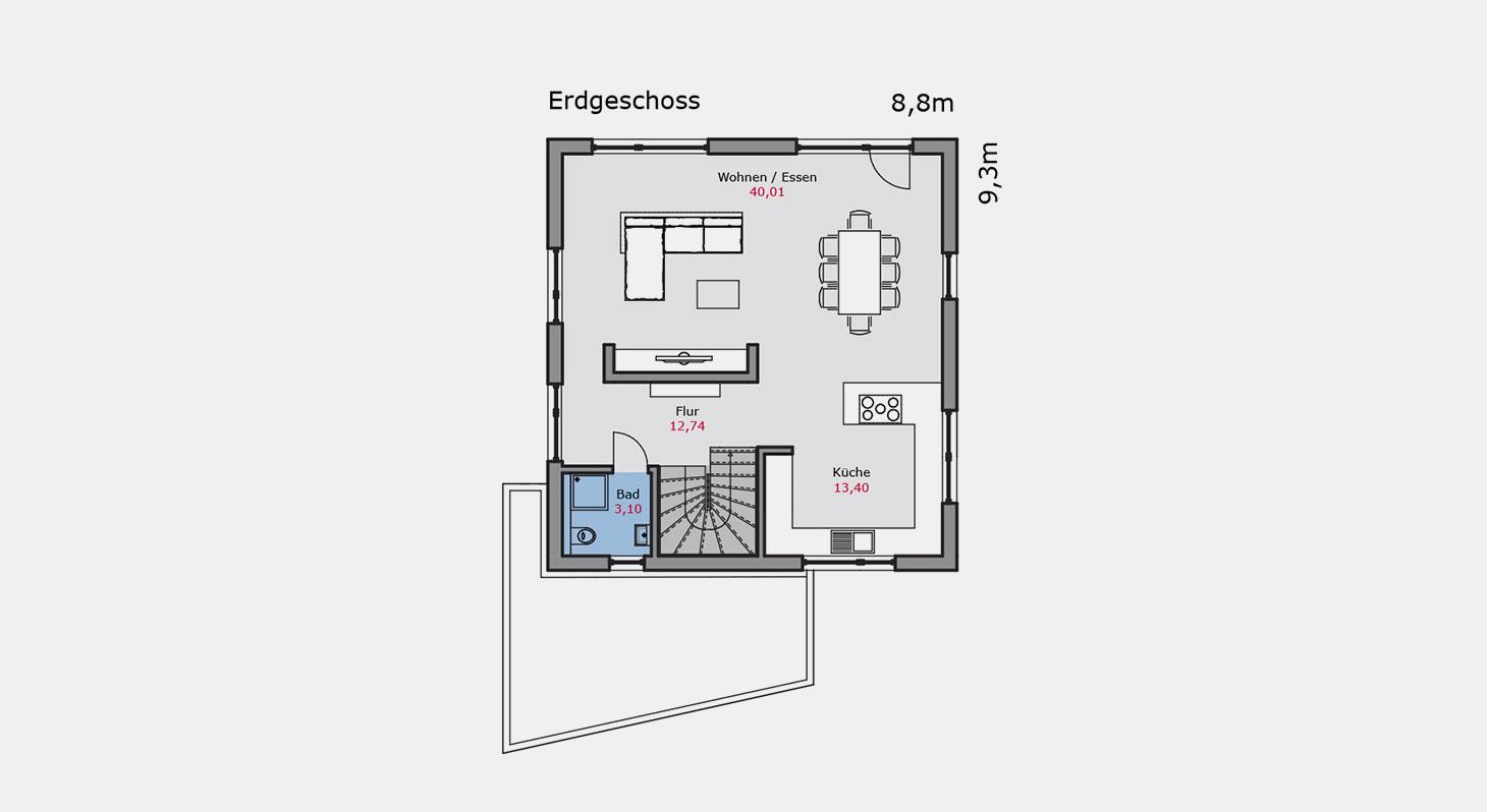 Grundriss - Einfamilienhaus e.146 EG