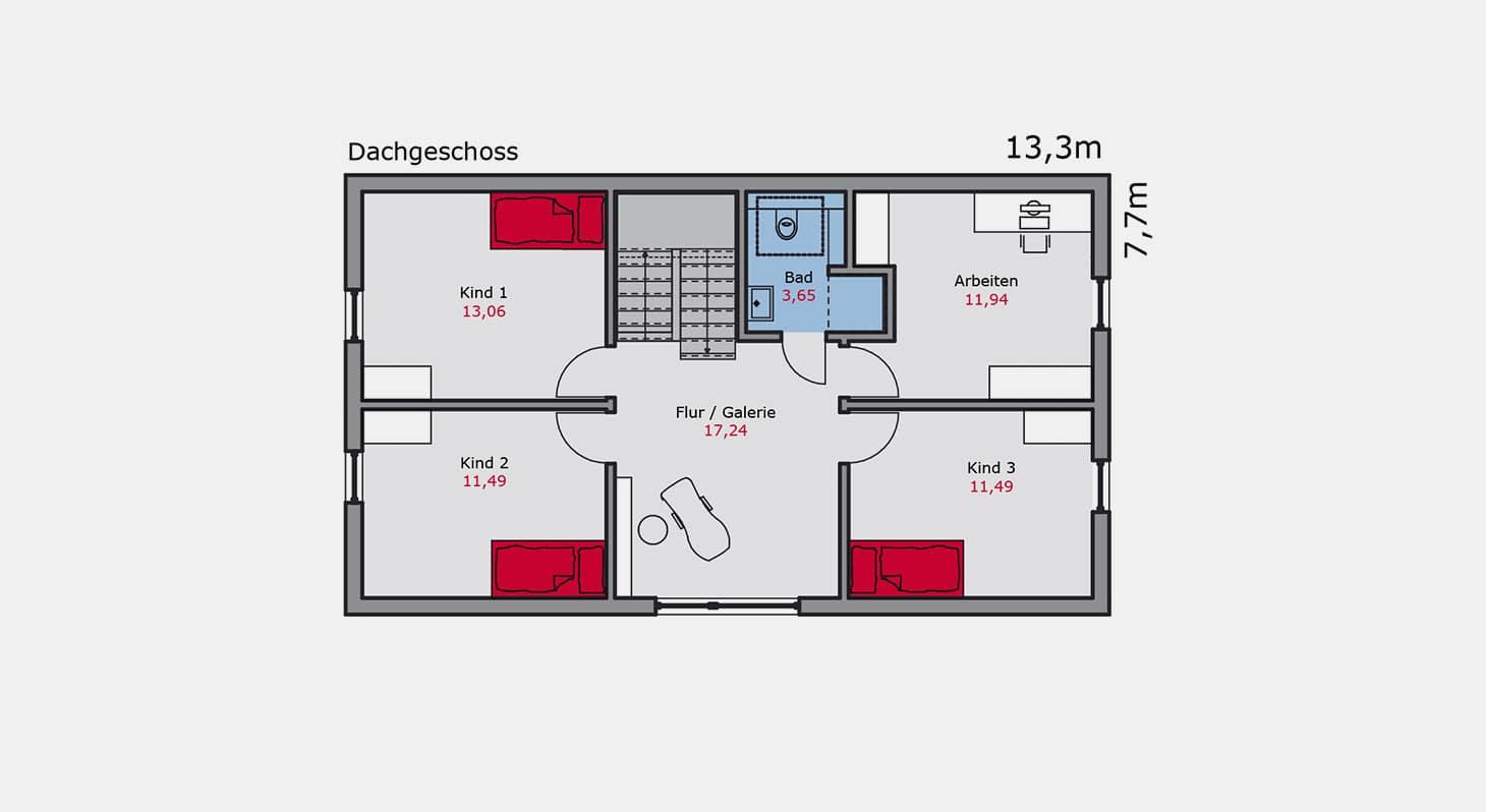 Grundriss - Einfamilienhaus e.147 DG