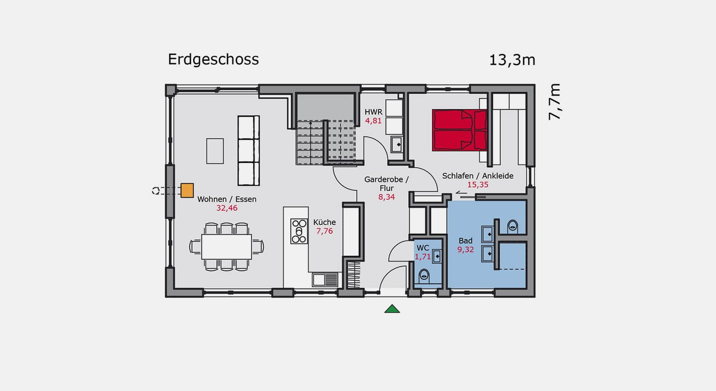 Grundriss - Einfamilienhaus e.147 EG