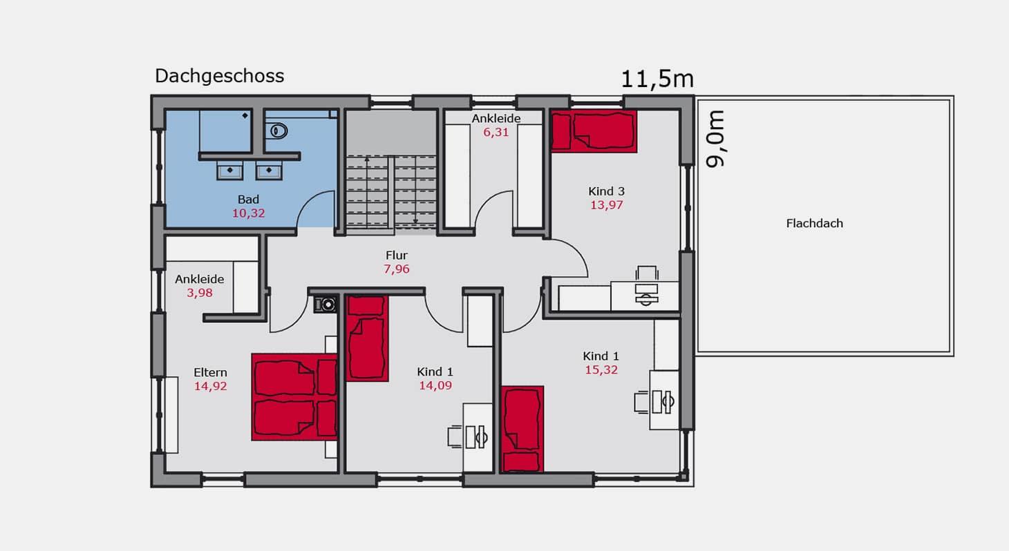 Grundriss - Einfamilienhaus e.149 DG
