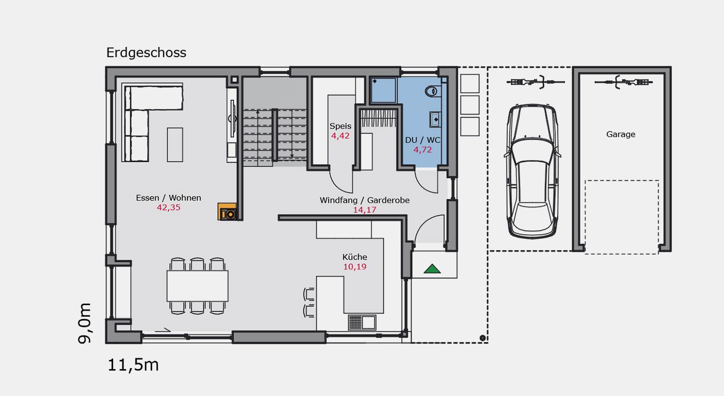 Grundriss - Einfamilienhaus e.149 EG
