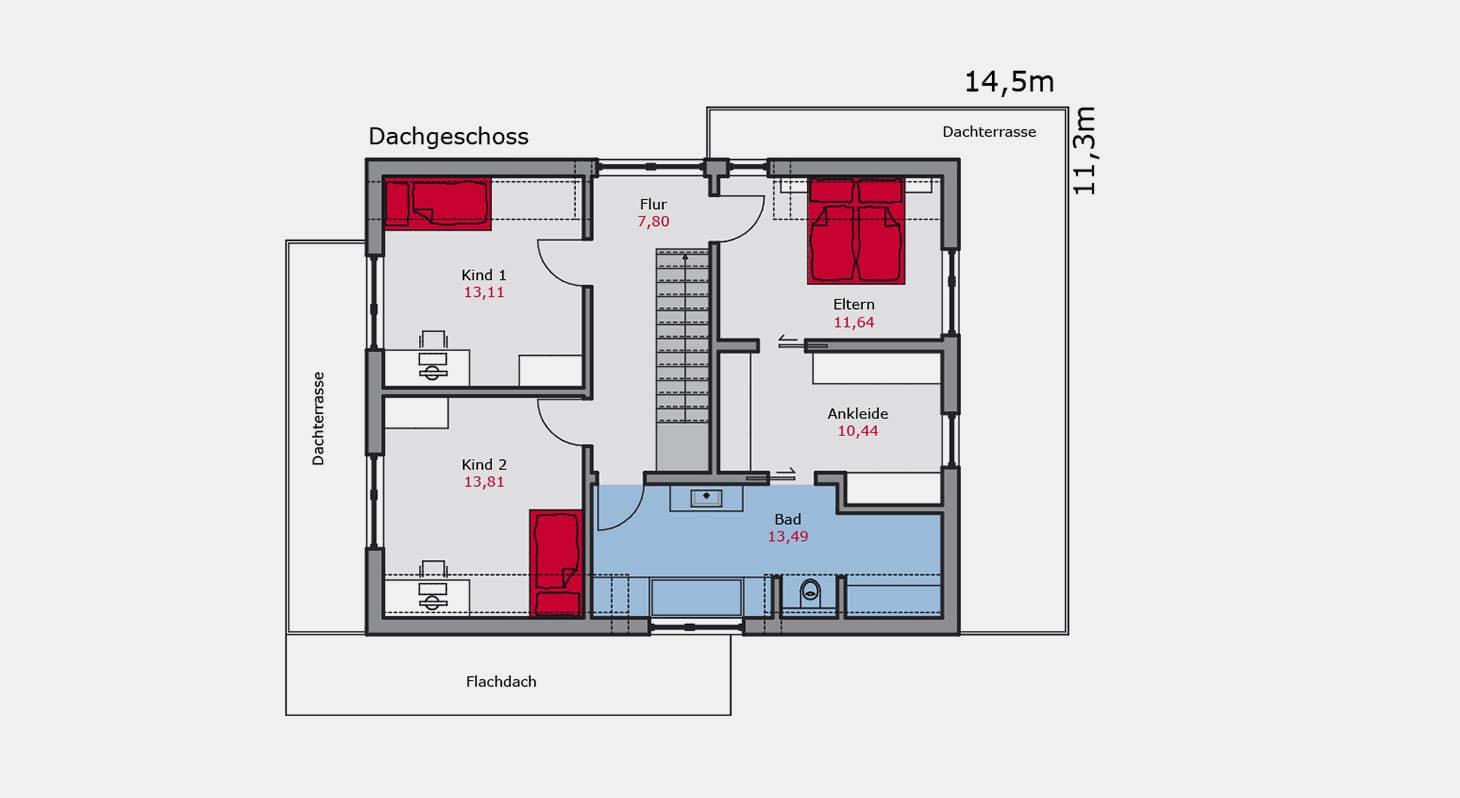 Grundriss - Zweifamilienhaus z.142 DG