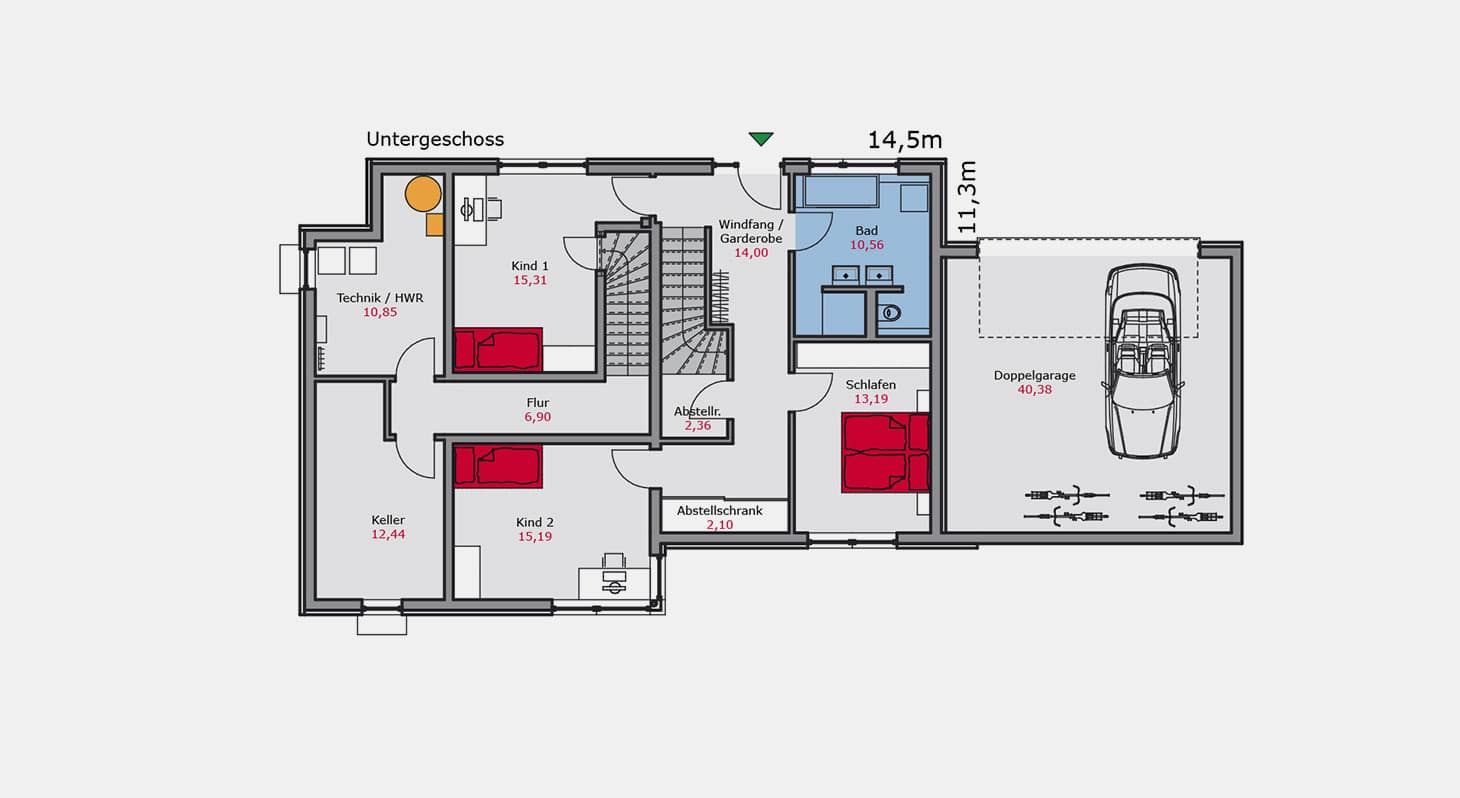 Grundriss - Zweifamilienhaus z.142 UG