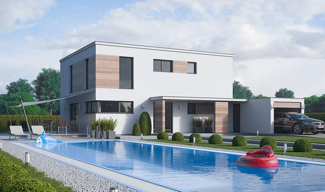 modernes Einfamilienhaus auf Bodenplatte