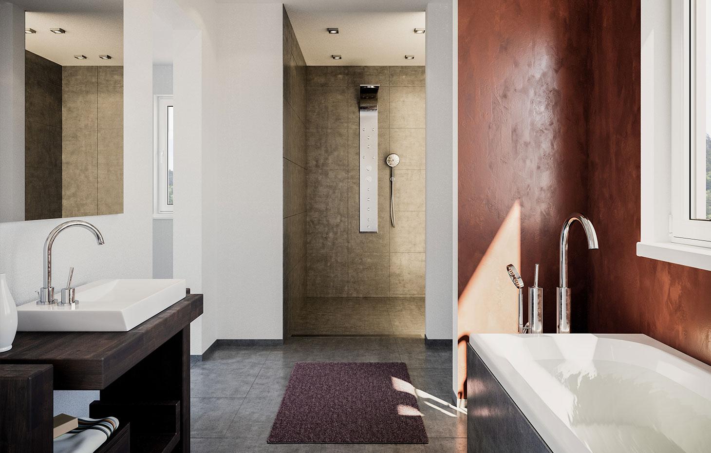 Zweifamilienhaus mit Freisitzfläche und großzügigem Badezimmer