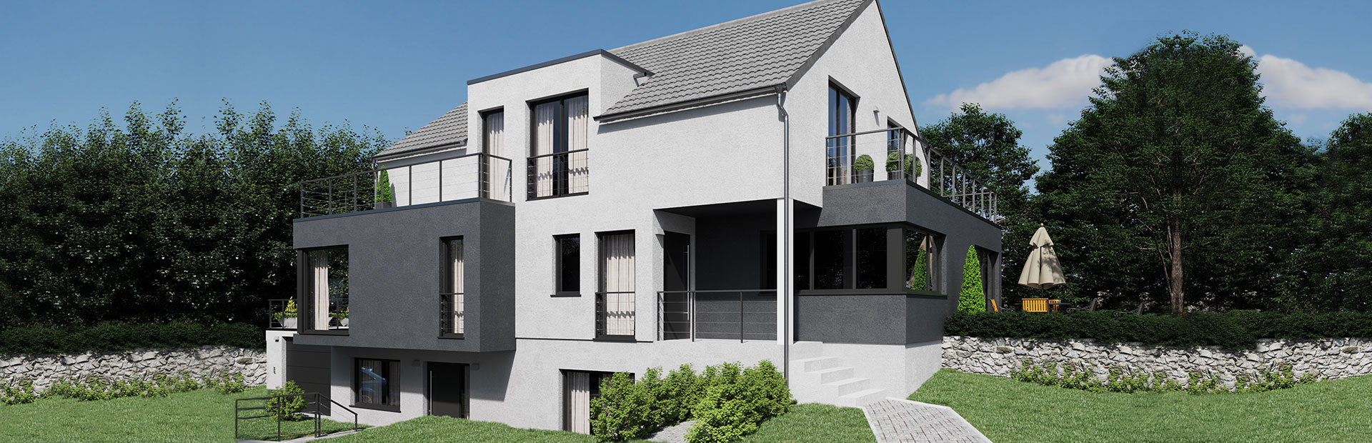 Zweifamilienhaus mit Freisitzflächen und einer durchdachten Grundrissplanung bauen lassen