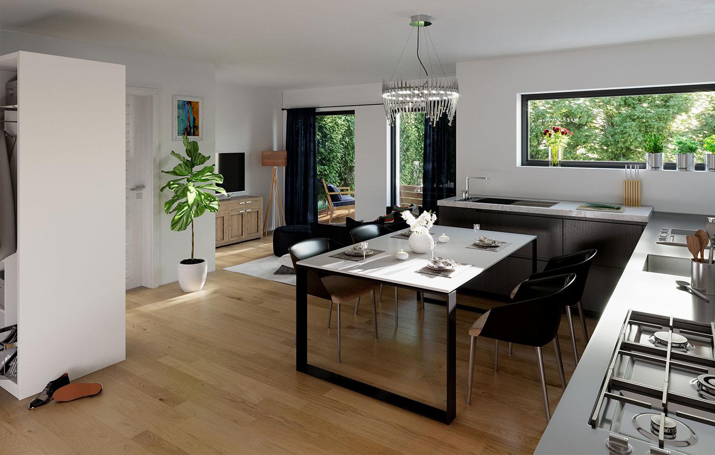 Zweifamilienhau mit-quadratischem Hauskörper