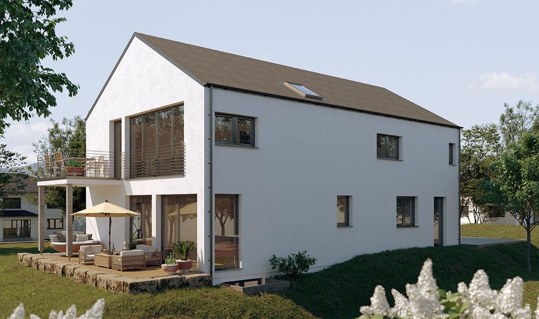 Zweifamilienhaus mit Satteldach und reduziertem Dachüberstand